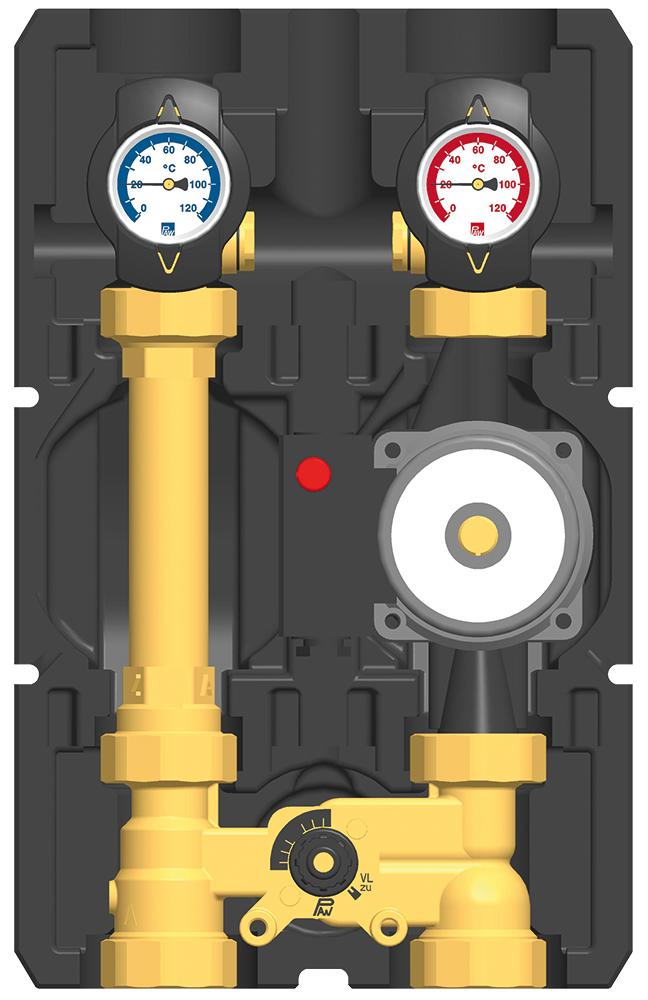 Rennergy gemischter Heizkreis ohne Pumpe, mit Absperrungen PAWG3 & PAWG3