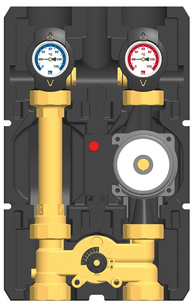 Rennergy gemischter Heizkreis ohne Pumpe, mit Absperrungen, mit Bypass PAWG350 & PAWG350